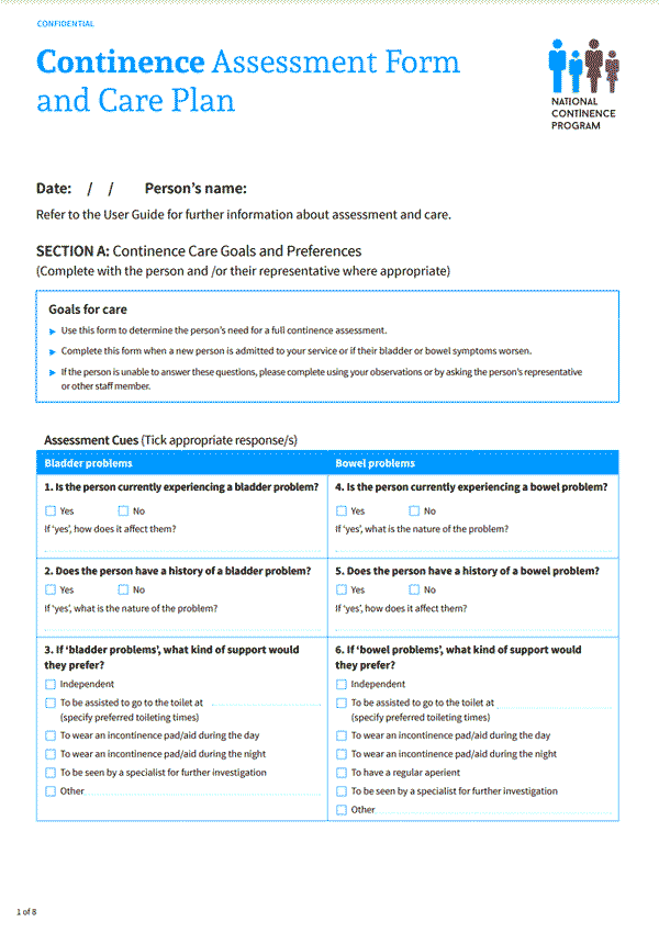 Continence Assessment Form and Care Plan